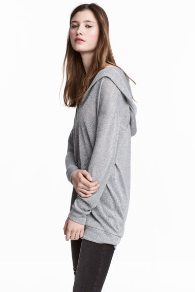 Knitted hooded jumper - Grey - Ladies | H&M CN 1