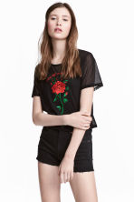 Embroidered mesh top - Black - Ladies | H&M CN 1