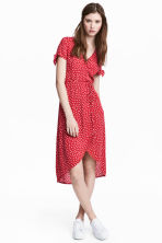 Crêpe wrap dress - Red/Spotted - Ladies | H&M CN 1