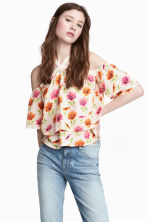Off-the-shoulder top - Natural white/Floral - Ladies | H&M 1