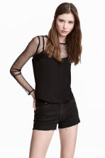 Blouse with mesh details - Black - Ladies | H&M 1