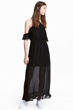 Long chiffon dress - Black - Ladies | H&M CA 1