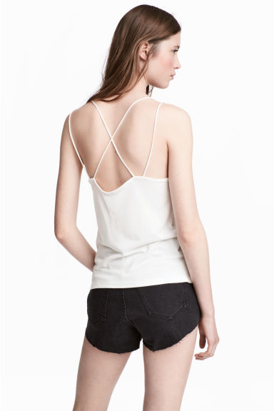 Strappy jersey top - White - Ladies | H&M 1