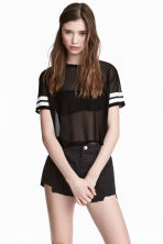 Cropped mesh T-shirt - Black - Ladies | H&M 1