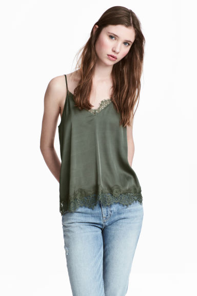 Satin strappy top - Khaki green - Ladies | H&M CN 1