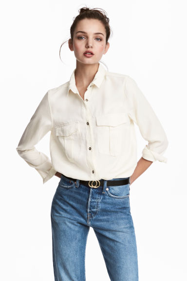 Camicia utility in lyocell - Bianco naturale - DONNA | H&M IT 1