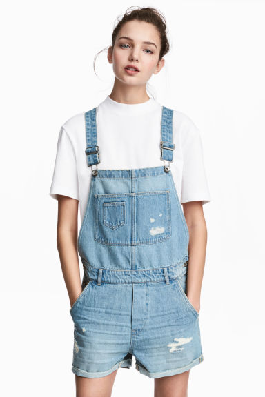 Denim dungaree shorts - Light denim blue - Ladies | H&M