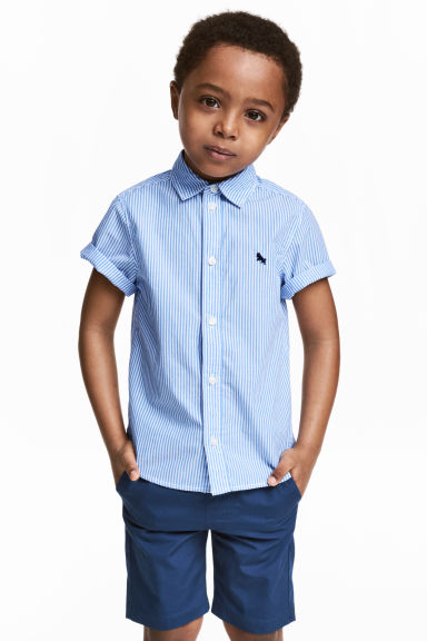 Cotton shirt - Light blue/Striped -  | H&M 1