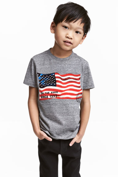 Printed T-shirt - Dark grey marl - Kids | H&M CN 1