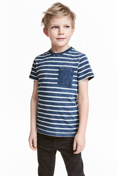 Printed T-shirt - Dark blue/Striped - Kids | H&M 1