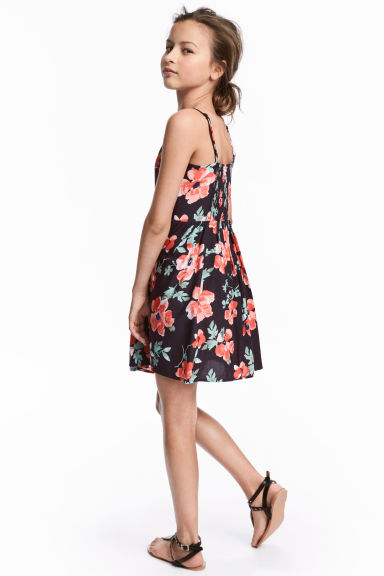 Patterned dress - Dark grey/Floral -  | H&M CN 1