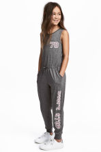 Jersey jumpsuit - Dark grey marl -  | H&M 1