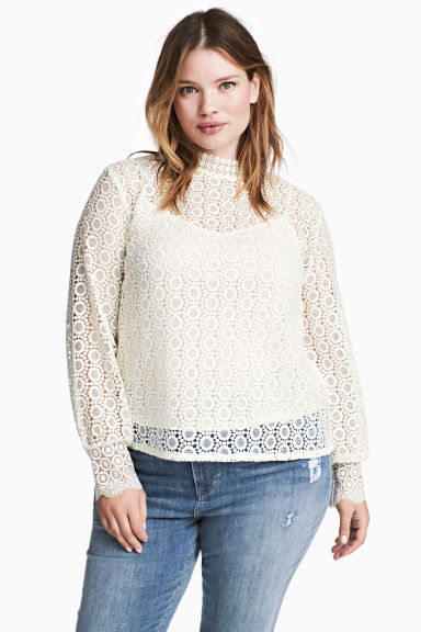 H&M+ Lace blouse - White - Ladies | H&M 1