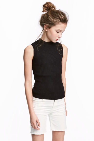 Fine-knit sleeveless top - Black -  | H&M CN