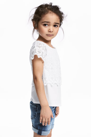 Lace top - White -  | H&M