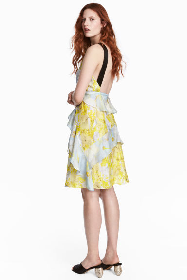 Silk chiffon dress - Yellow/Floral - Ladies | H&M CA 1