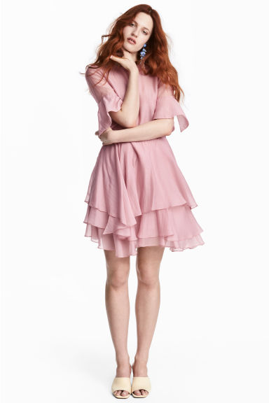 Lyocell-blend tiered dress - Pink -  | H&M