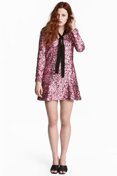 Robe à paillettes - Rose -  | H&M CA 1