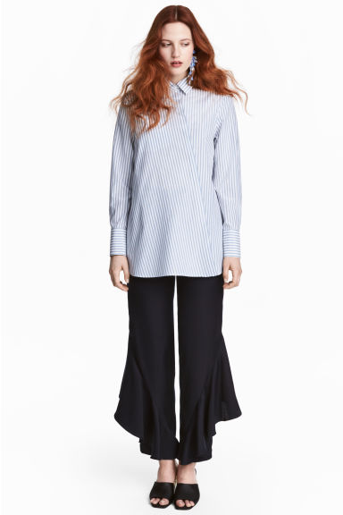 Silk-blend shirt - Blue/White/Striped -  | H&M 1