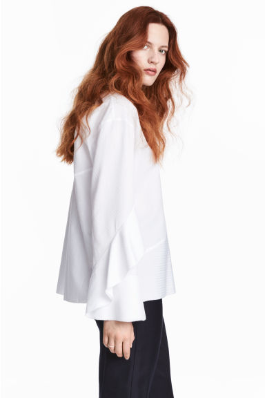 Silk-blend blouse - White - Ladies | H&M CA 1