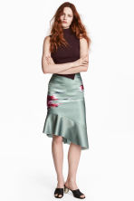 Bonded silk skirt - Dusky green/Patterned -  | H&M IE 1