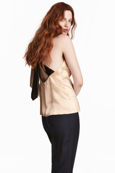 Silk-blend top - Light beige/Black - Ladies | H&M CA 1