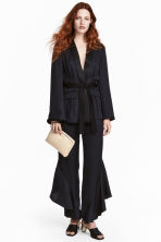 Silk-blend flounced trousers - Dark blue -  | H&M CA 1
