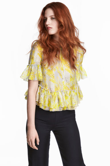 Lyocell-blend blouse - Yellow/Floral - Ladies | H&M IE 1