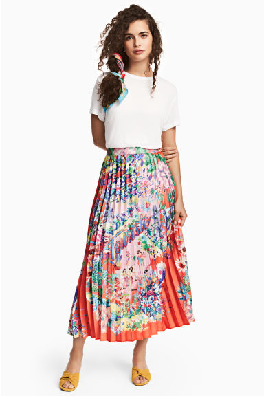 Pleated skirt - Coral/Patterned - Ladies | H&M GB