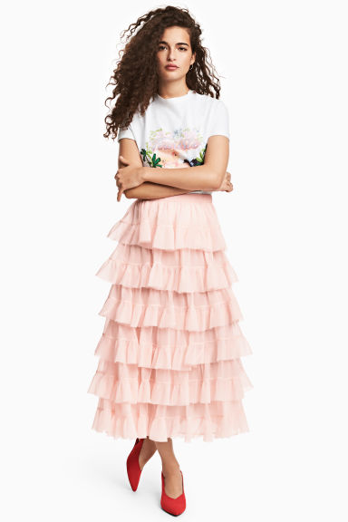 Tiered skirt - Powder pink - Ladies | H&M GB 1