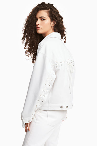 Denim jacket with lacing - White denim - Ladies | H&M CN 1