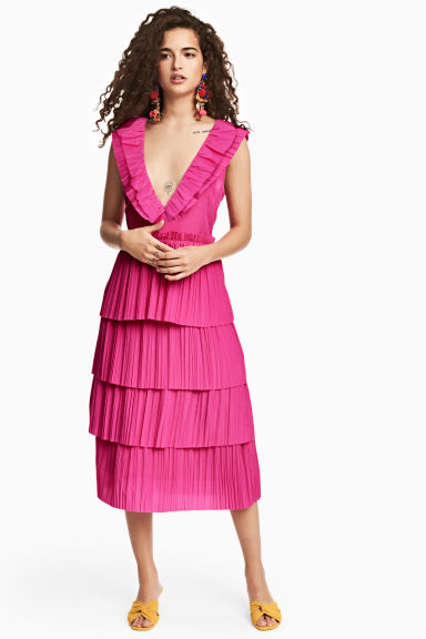 Pleated tiered dress - Neon pink - Ladies | H&M CN