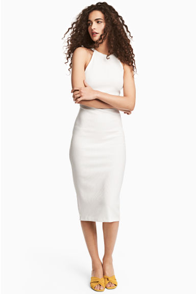 Ribbed dress - White - Ladies | H&M 1