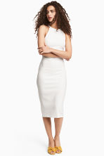 Ribbed dress - White -  | H&M CN 1