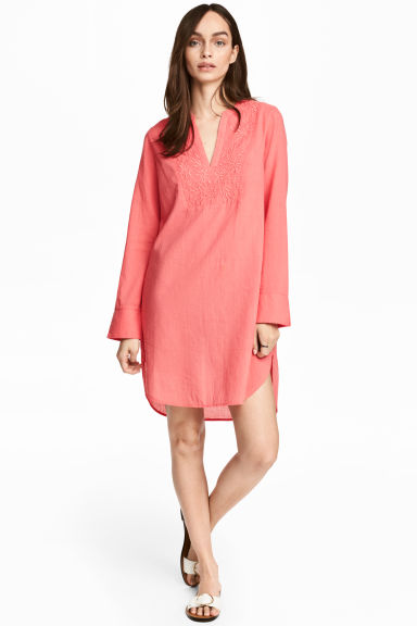Embroidered cotton tunic - Coral pink - Ladies | H&M 1