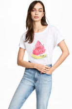 Printed cotton top - White/Watermelon - Ladies | H&M 1