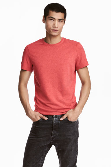 Round-neck T-shirt Slim fit - Coral marl - Men | H&M CN 1