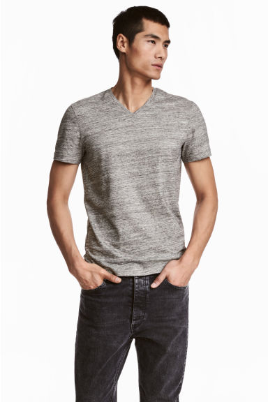 V-neck T-shirt Slim fit - Grey marl - Men | H&M CN 1