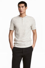 短袖亨利衫 - Light beige marl - Men | H&M 2