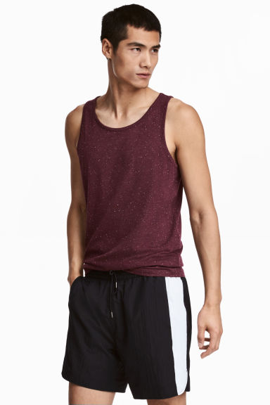 Cotton jersey vest top - Burgundy/Nepped -  | H&M