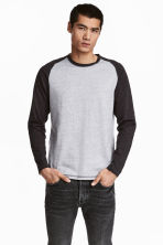 Long-sleeved T-shirt - Grey marl - Men | H&M 1