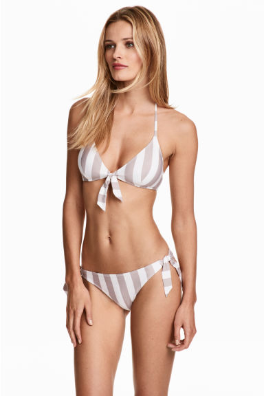 Tie tanga bikini bottoms - Mole/White/Striped - Ladies | H&M 1