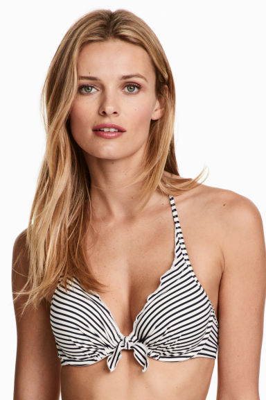 Padded bikini top - White/Dark blue stripe - Ladies | H&M 1