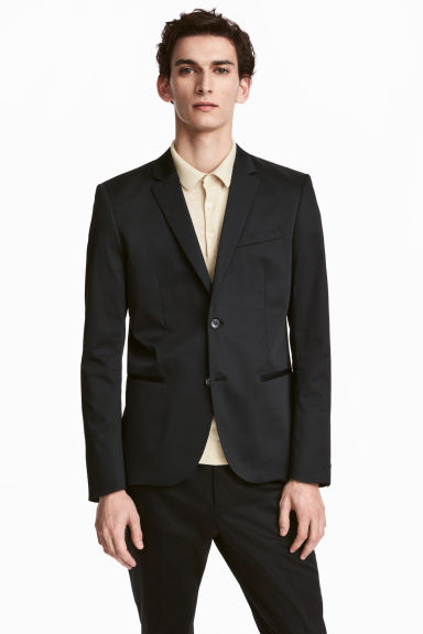 Cotton jacket Skinny fit - Black - Men | H&M