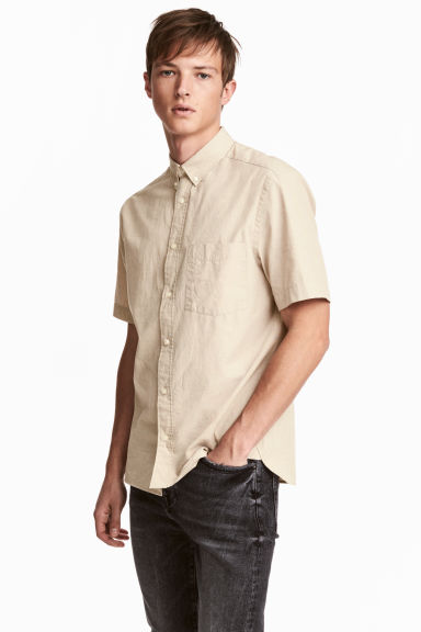 Linen-blend shirt - Light beige - Men | H&M CN 1