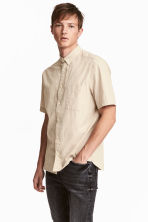 Linen-blend shirt - Light beige - Men | H&M 1