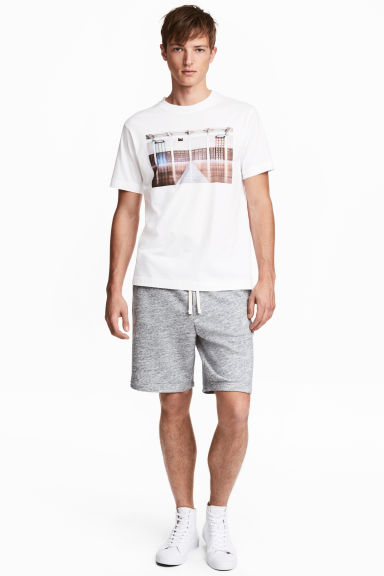 Knee-length sweatshirt shorts - Blue marl - Men | H&M 1