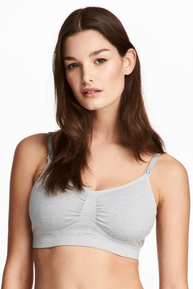 MAMA 2-pack soft nursing bras - Grey/White - Ladies | H&M CN 1