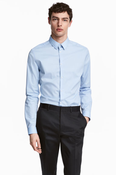 Stretch shirt Slim fit - Light blue - Men | H&M CN