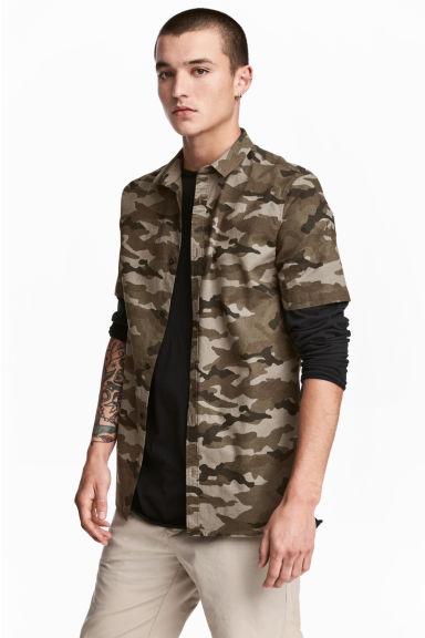 Patterned cotton shirt - Khaki/Patterned - Men | H&M 1